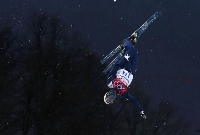 Mac Bohonnon of the U.S. performs a jump during the men's freestyle skiing aerials qualification round at the 2014 Sochi Winter Olympic Games in Rosa Khutor February 17, 2014. REUTERS/Lucas Jackson (RUSSIA - Tags: SPORT SKIING OLYMPICS TPX IMAGES OF THE DAY)