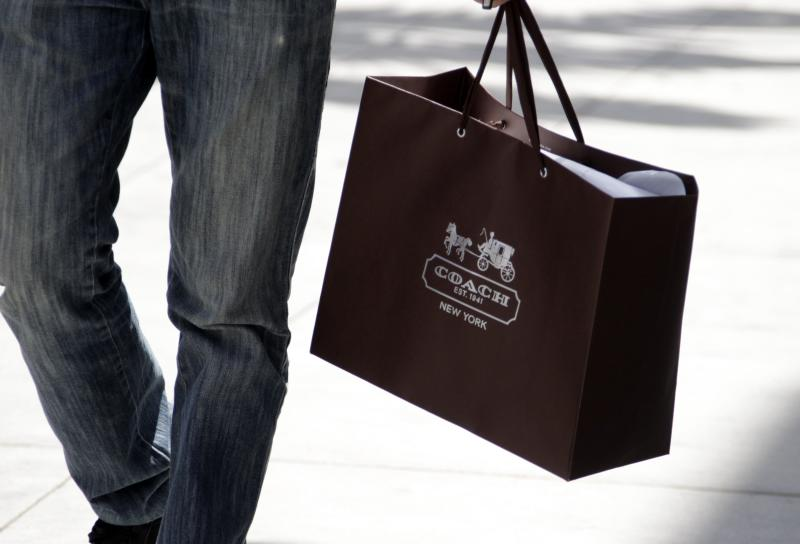 File of a shopping bag from the luxury brand Coach is seen along Rodeo Drive in Beverly Hills