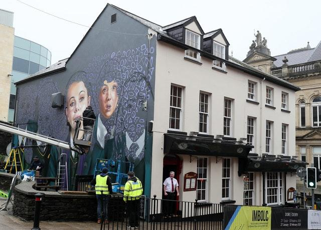 Derry Girls mural in Londonderry
