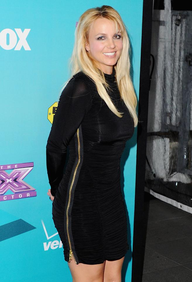 """LOS ANGELES, CA - NOVEMBER 05:  Recording artist Britney Spears arrives at FOX's """"The X Factor"""" Finalists Party at The Bazaar at the SLS Hotel Beverly Hills on November 5, 2012 in Los Angeles, California.  (Photo by Jon Kopaloff/FilmMagic)"""