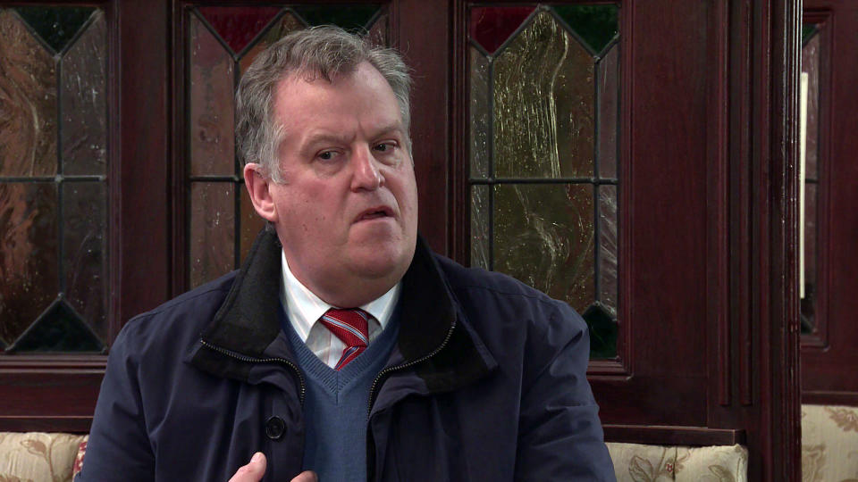 FROM ITV  STRICT EMBARGO - No Use Before Tuesday 16th March 2021  Coronation Street - Ep 10281  Wednesday 24th March 2021 - 1st Ep  Jenny Connor [SALLY-ANN MATTHEWS] tells Brian Packham [PETER GUNN] heÕs barred for making nasty comments online about Steve, Cathy MatthewÕs [MELANIE HILL] mortified.  Picture contact David.crook@itv.com   This photograph is (C) ITV Plc and can only be reproduced for editorial purposes directly in connection with the programme or event mentioned above, or ITV plc. Once made available by ITV plc Picture Desk, this photograph can be reproduced once only up until the transmission [TX] date and no reproduction fee will be charged. Any subsequent usage may incur a fee. This photograph must not be manipulated [excluding basic cropping] in a manner which alters the visual appearance of the person photographed deemed detrimental or inappropriate by ITV plc Picture Desk. This photograph must not be syndicated to any other company, publication or website, or permanently archived, without the express written permission of ITV Picture Desk. Full Terms and conditions are available on  www.itv.com/presscentre/itvpictures/terms
