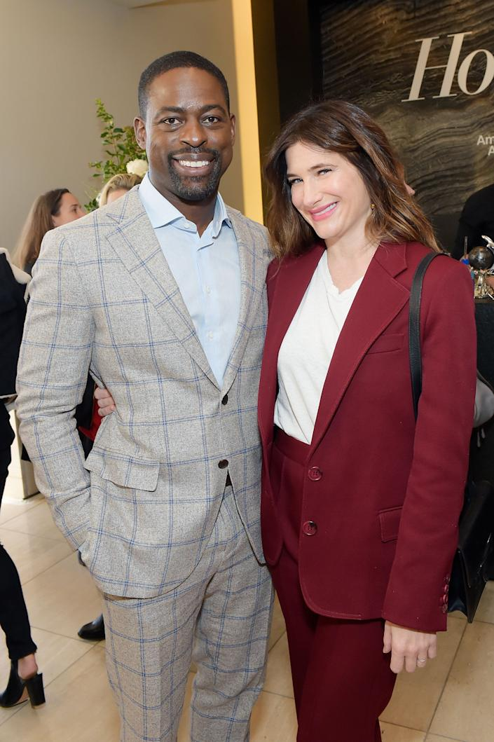 LOS ANGELES, CA - DECEMBER 06: Sterling K. Brown (L) and Kathryn Hahn at The Hollywood Reporter's 26th Annual Women In Entertainment Breakfast presented in partnership with FIJI Water at Milk Studios on December 6, 2017 in Los Angeles, California. (Photo by Stefanie Keenan/Getty Images for FIJI Water)