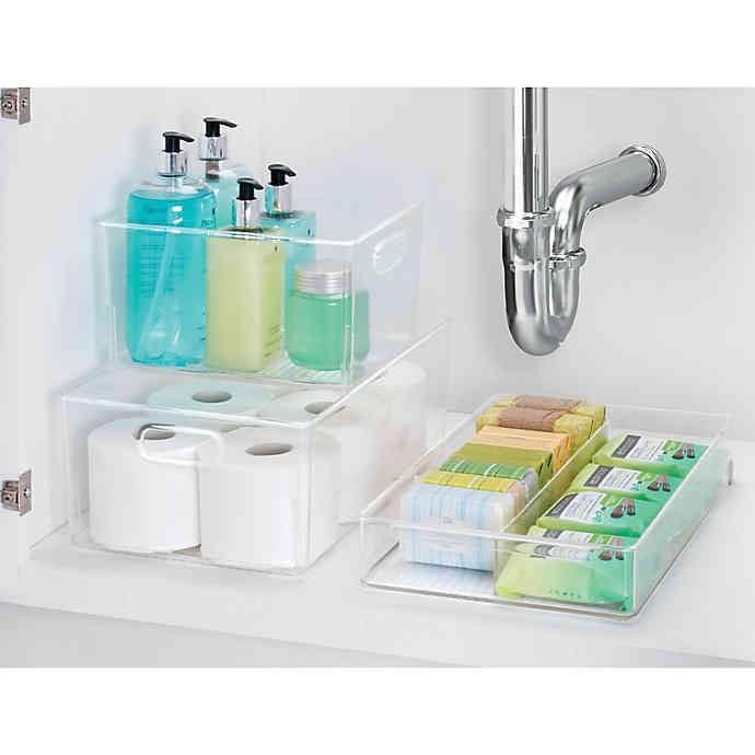 <p>We love that you can see through the boxes in this <span>iDesign Bath Organizer Collection</span> ($7-$20).</p>