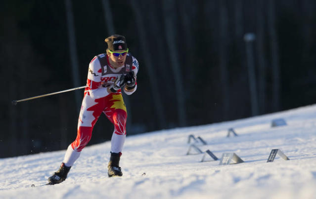 3rd placed Canada's Devon Kershaw competes during the FIS Cross-Country World Cup Prologue Men 3.3 km Free Individual in Falun, Sweden on March 16, 2012. (Photo by Jonathan Nackstrand/AFP/Getty Images)