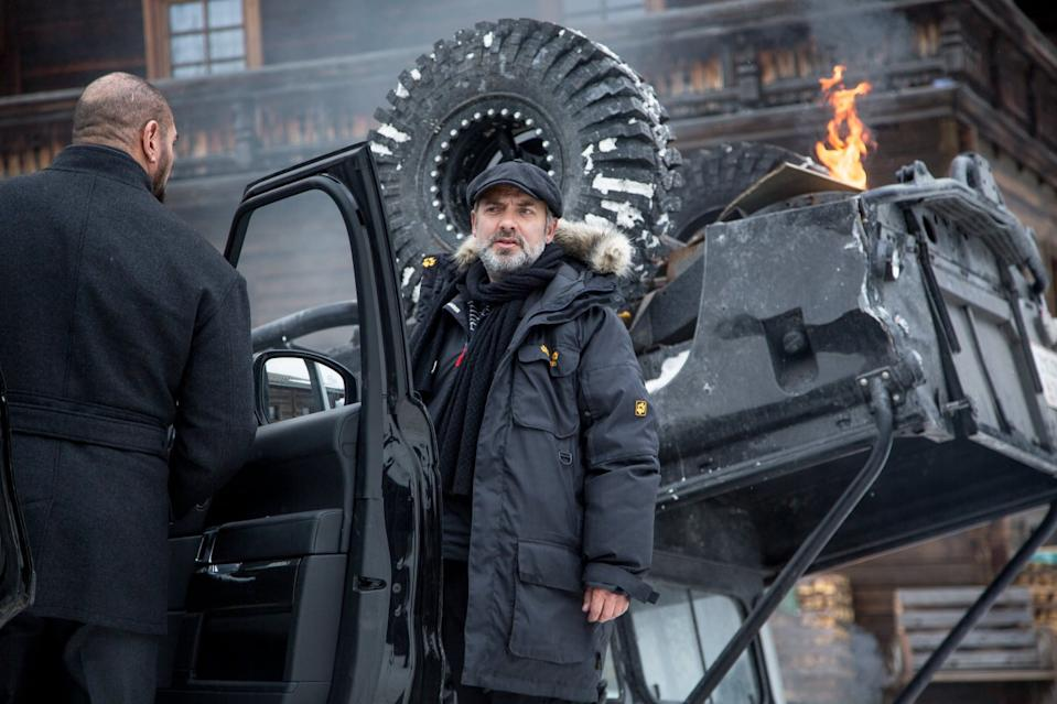 Sam Mendes on the set of Spectre (Credit: Sony)