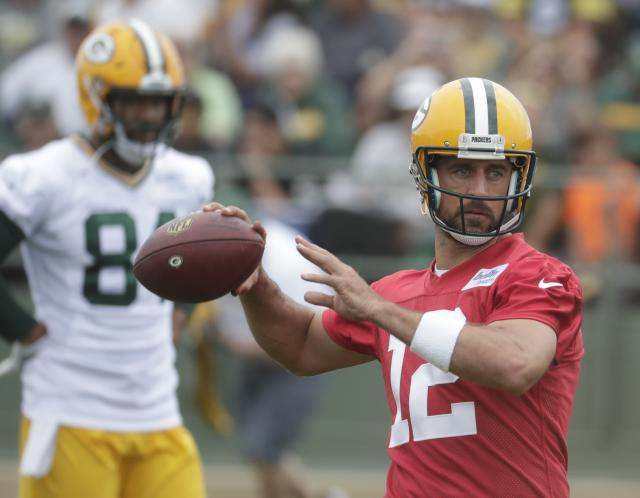 Aaron Rodgers was very specific with criticism of what he deemed as low effort from some wide receivers at Packers practice. (AP)