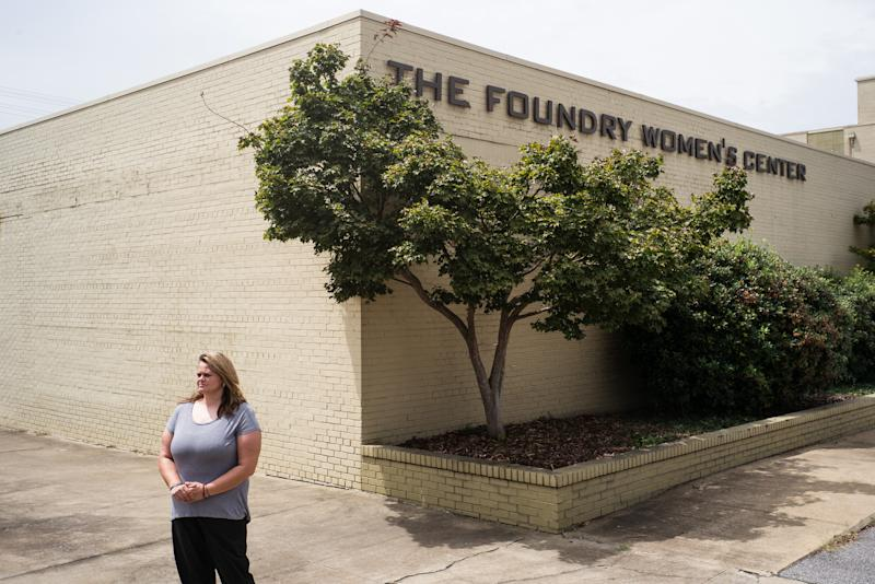 Trinity McGuffie stands outside The Foundry Women's Center. McGuffie had substance abuse disorder and mental health issues for nearly 20 years before she entered The Foundry Ministries' year-long women's recovery program, a faith-based service in Bessemer, Alabama. (Bob Miller for HuffPost)