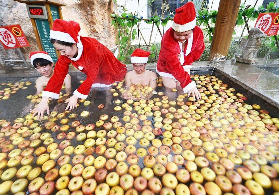 <p>It's a common tradition to give apples during this time of year because the Chinese word for Christmas Eve (Ping An Ye) is similar to their word for apple (Ping Guo.)</p>
