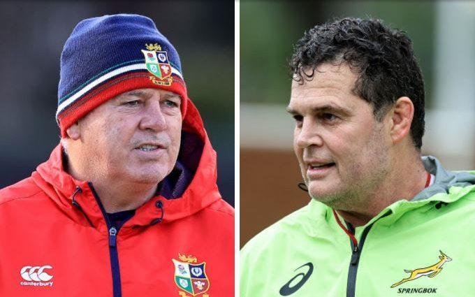 Warren Gatland and Rassie Erasmus - South Africa mock Warren Gatland's 'dented ego' jibe as tempers hit boiling point before Lions first Test - GETTY IMAGES