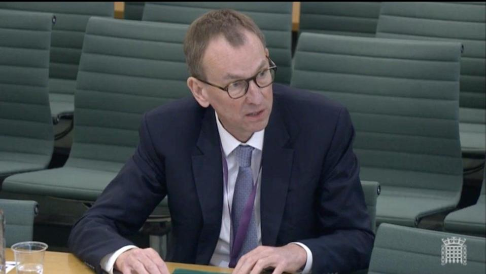 <p>Sir Tom Scholar, the Treasury permanent secretary, gives evidence on the Greensill affair to the House of Commons Public Accounts Committee on Thursday</p> (UK Parliament)