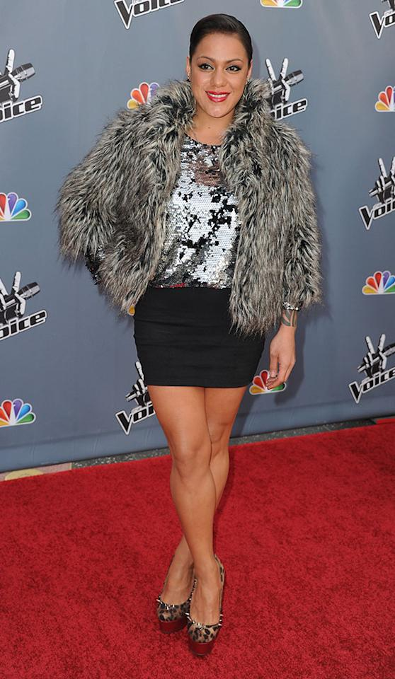 "Jordis Unga arrives at the screening of NBC's ""The Voice"" Season 4 at TCL Chinese Theatre on March 20, 2013 in Hollywood, California."
