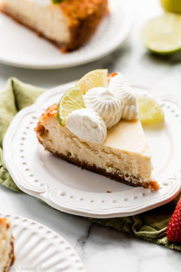 "<a href=""https://sallysbakingaddiction.com/key-lime-cheesecake/"" rel=""nofollow noopener"" target=""_blank"" data-ylk=""slk:Get the Key Lime Cheesecake recipe from Sally's Baking Addiction"" class=""link rapid-noclick-resp""><strong>Get the Key Lime Cheesecake recipe from Sally's Baking Addiction</strong></a>"