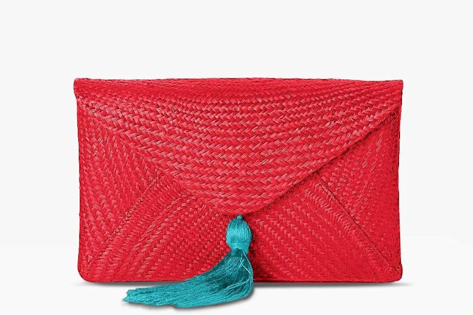 """<p><strong>Kayu</strong></p><p>kayudesign.com</p><p><strong>$210.00</strong></p><p><a href=""""https://shop.kayudesign.com/collections/all/products/cassia-straw-clutch-bag-1"""" rel=""""nofollow noopener"""" target=""""_blank"""" data-ylk=""""slk:Shop Now"""" class=""""link rapid-noclick-resp"""">Shop Now</a></p><p>Only natural straw is used for Kayu's bags, which are handcrafted in the Philippines, Indonesia, and Malaysia by women artisans who use indigenous techniques passed down from their mothers and grandmothers.<br></p>"""