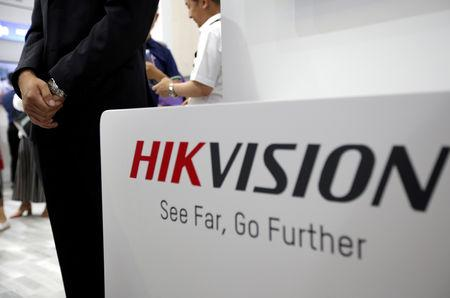 FILE PHOTO: A Hikvision logo is seen at an exhibition during the World Intelligence Congress in Tianjin, China May 16, 2019. REUTERS/Jason Lee/File Photo