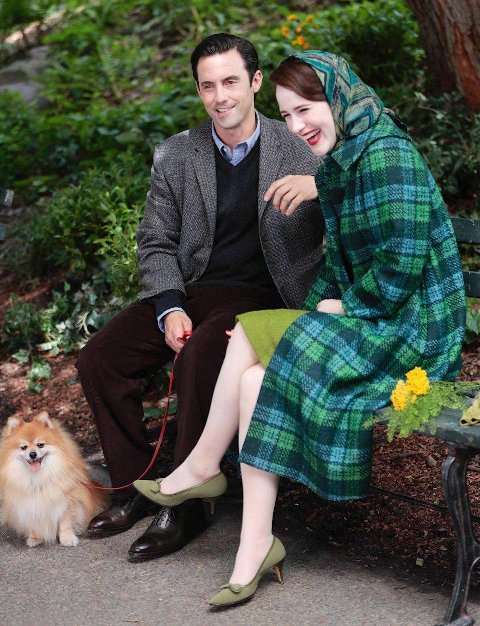 <p>Milo Ventimiglia is spotted filming a scene on a park bench alongside Rachel Brosnahan for <i>The Marvelous Mrs. Maisel </i>on June 10 in N.Y.C. </p>