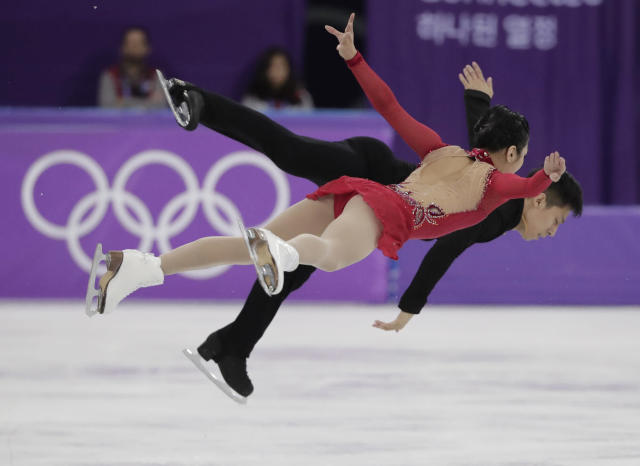 <p>Sui Wenjing and Han Cong of China perform in the pairs free skate figure skating final in the Gangneung Ice Arena at the 2018 Winter Olympics in Gangneung, South Korea, Thursday, Feb. 15, 2018. (AP Photo/Julie Jacobson) </p>