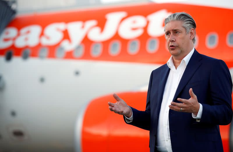 FILE PHOTO: EasyJet CEO Johan Lundgren talks to media at Gatwick Airport, in Gatwick
