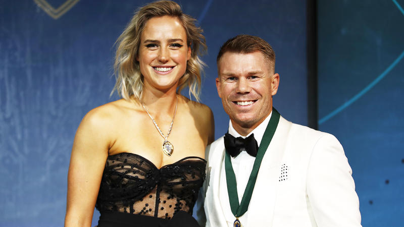 Ellyse Perry and David Warner, pictured here at the Australian Cricket Awards with their medas.