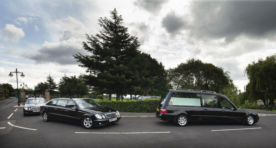 The funeral cortege arriving at Grenoside Crematorium, Sheffield, prior to the funeral of Tristan and Blake Barrass. Their mother Sarah Barrass has been charged with their murder and will go on trial later this year. (Photo by Danny Lawson/PA Images via Getty Images)