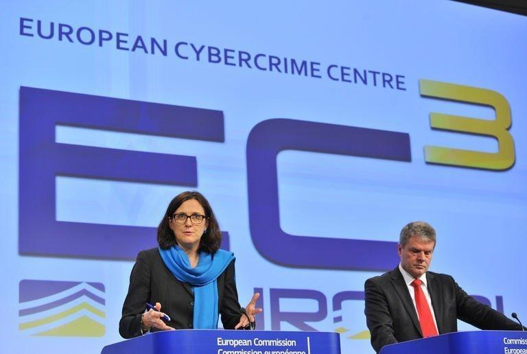 EU commissioner for Home Affairs presenting the Cybercrime Centre on January 9, 2013, at the EU Headquarters in Brussels