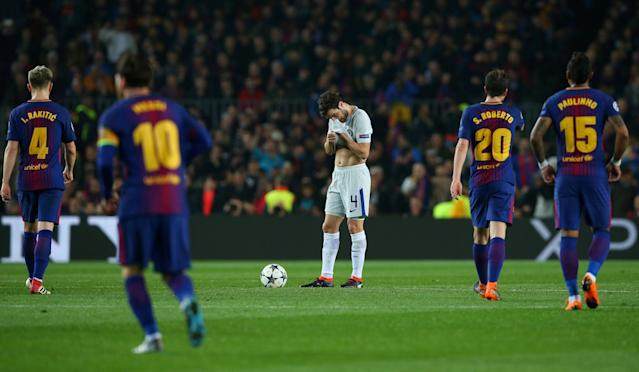 Soccer Football - Champions League Round of 16 Second Leg - FC Barcelona vs Chelsea - Camp Nou, Barcelona, Spain - March 14, 2018 Chelsea's Cesc Fabregas looks dejected after Barcelona's Lionel Messi scored their third goal REUTERS/Albert Gea TPX IMAGES OF THE DAY