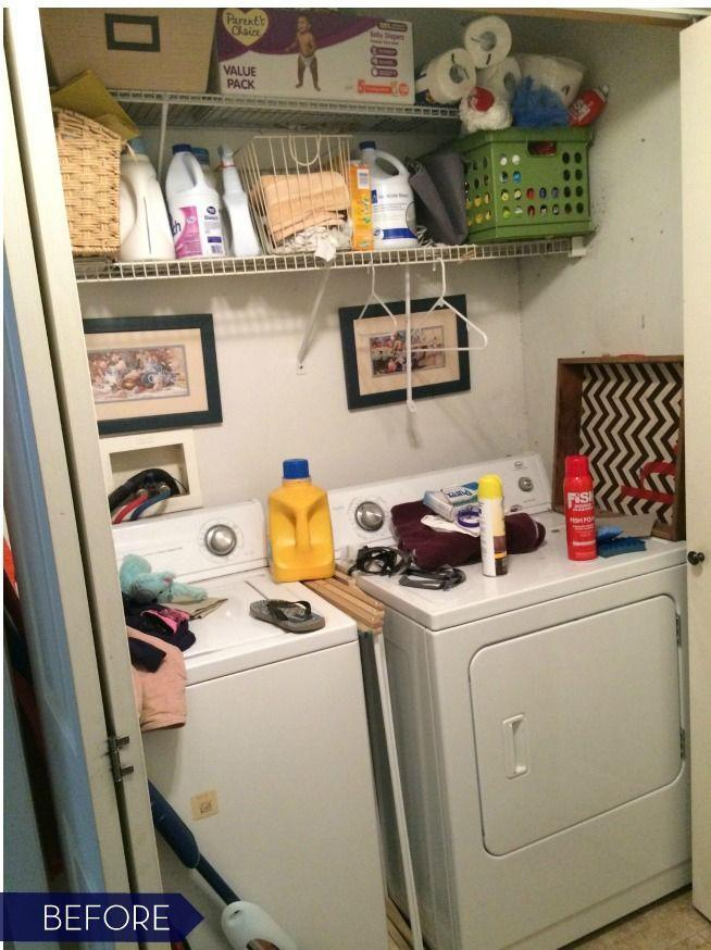 """<p>Even though there were two large shelves across the top of <a href=""""http://www.jennaburger.com/2015/05/laundry-room-closet-reveal/"""" rel=""""nofollow noopener"""" target=""""_blank"""" data-ylk=""""slk:this space"""" class=""""link rapid-noclick-resp"""">this space</a>, they held random bottles and baskets that clearly weren't mapped out.</p>"""