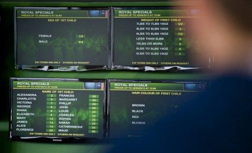 Screens list the odds on the gender, weight and name of the royal baby at a bookmakers in London, June 27, 2013