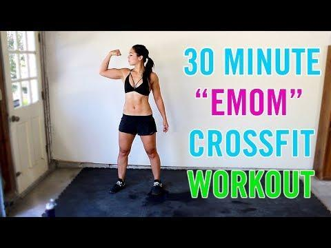 """<p>Missing your Box and WOD-mates? Try Kat's 30-minute Crossfit inspired EMOM workout to make your home feel a little more gym-like. </p><p><a href=""""https://www.youtube.com/watch?v=_9Lmj4YE1R8"""" rel=""""nofollow noopener"""" target=""""_blank"""" data-ylk=""""slk:See the original post on Youtube"""" class=""""link rapid-noclick-resp"""">See the original post on Youtube</a></p>"""