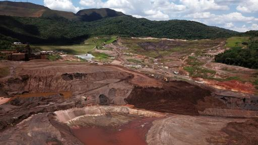 Aerial view of Brazilian mining multinational Vale's Corrego do Feijao mine where the collapse of a tailings dam on January 25, 2019 killed 270 people