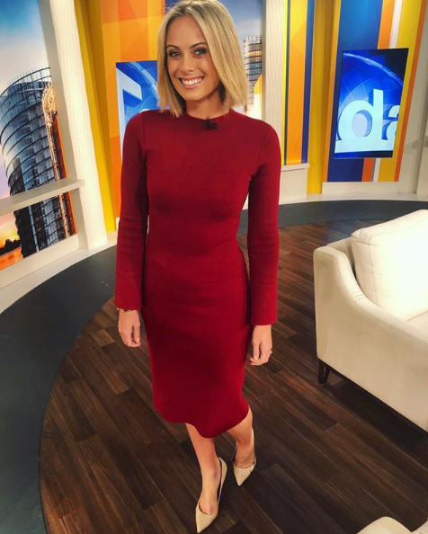 <p>She's seriously stylish in this gorgeous burgundy dress designed by Rebecca Vallance. Source: Instagram/Channel9Style </p>