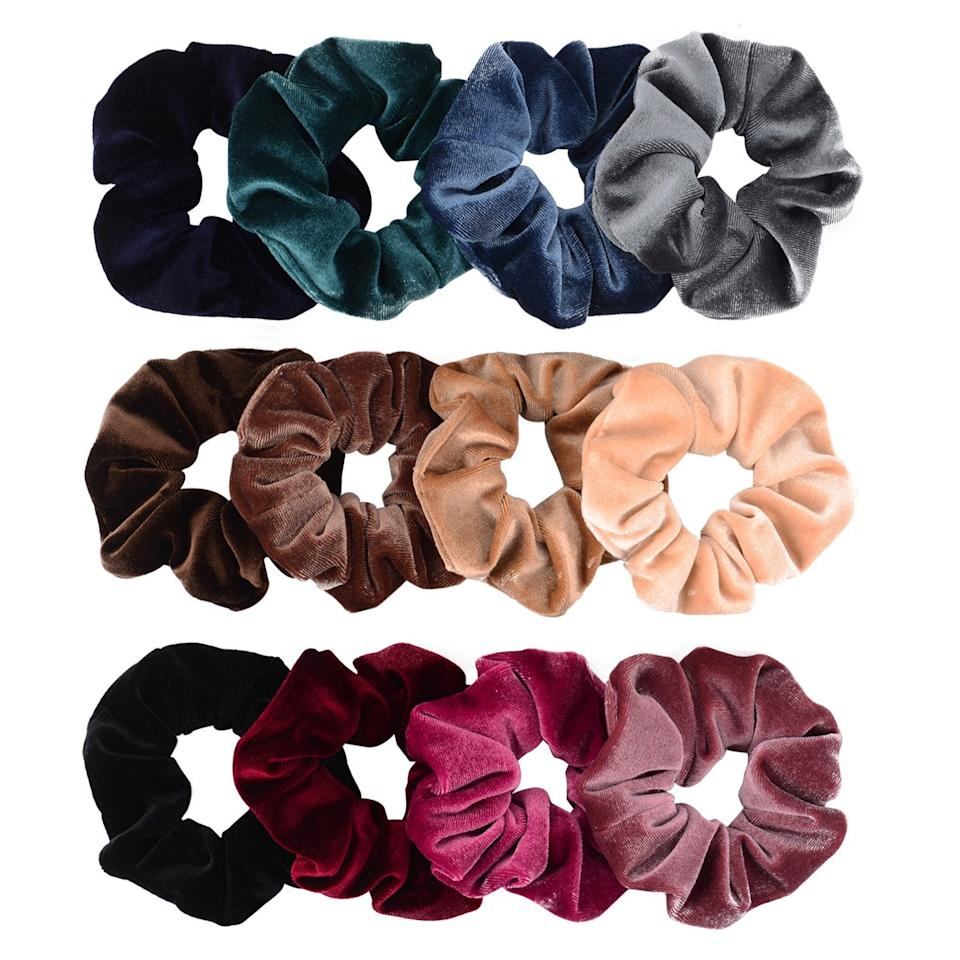 "<h2>Whaline 12-Pack Premium Velvet Hair Scrunchies</h2><br>This multi-colored scrunchy pack is not only nostalgic and cute, but it's also <em>good</em> for your hair (bye-bye, breakage!). Our new obsession is to interchange with these luxe <a href=""https://www.amazon.com/Scrunchies-Bobbles-VAGA-Ponytail-Headbands/dp/B01ITK28Y8/ref=as_li_ss_tl?"" rel=""nofollow noopener"" target=""_blank"" data-ylk=""slk:silk scrunchies"" class=""link rapid-noclick-resp"">silk scrunchies</a>, too. <br><br><strong>Whaline</strong> Whaline 12-Pack Hair Premium Velvet Scrunchies, $, available at <a href=""https://www.amazon.com/Whaline-Scrunchies-Elastics-Scrunchy-Bobbles/dp/B075M76F8L/ref=as_li_ss_tl?"" rel=""nofollow noopener"" target=""_blank"" data-ylk=""slk:Amazon"" class=""link rapid-noclick-resp"">Amazon</a>"