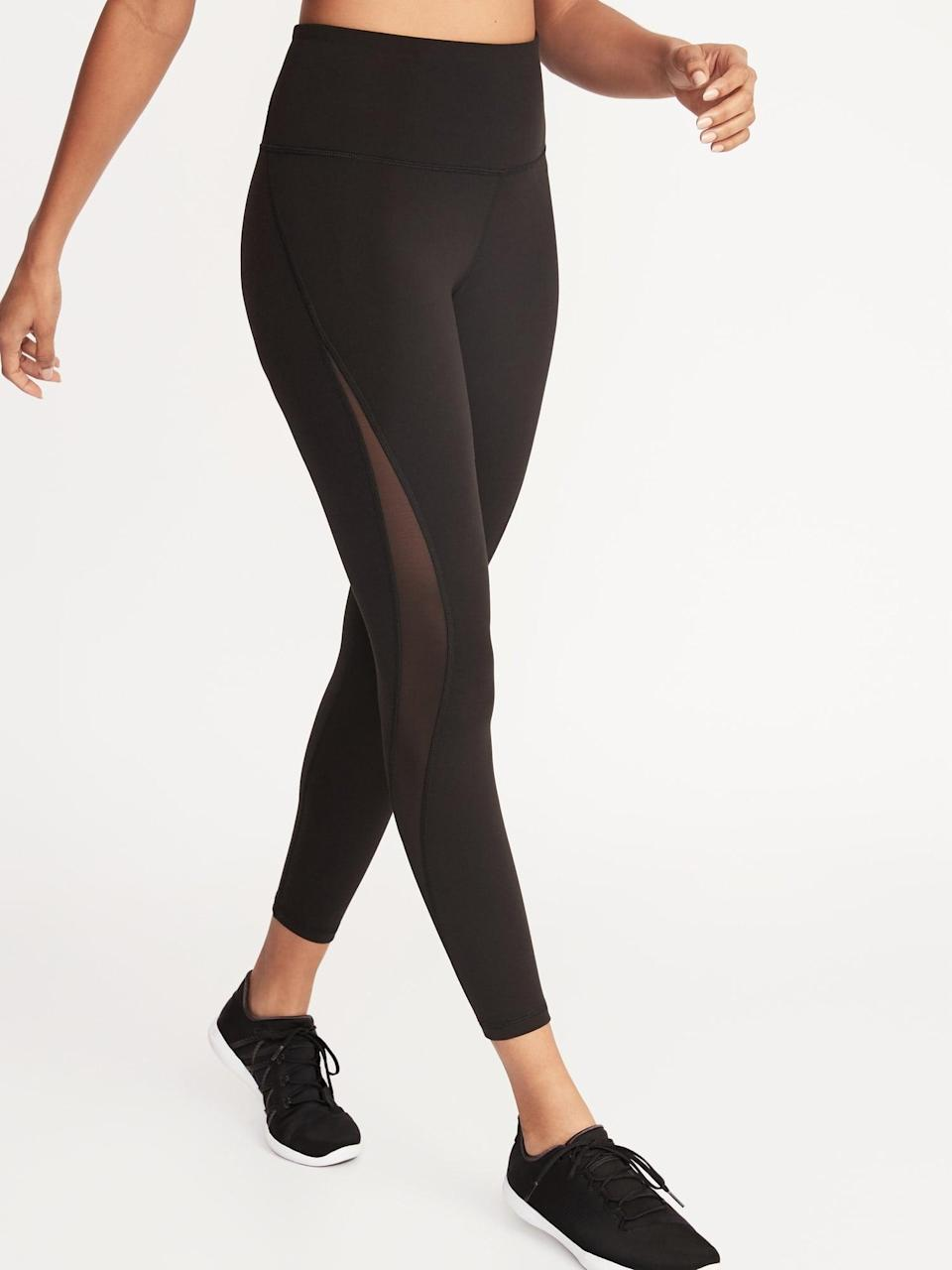 """<p>These <a href=""""https://www.popsugar.com/buy/Old-Navy-High-Waisted-Elevate-78-Length-Mesh-Splice-Compression-Leggings-546342?p_name=Old%20Navy%20High-Waisted%20Elevate%207%2F8-Length%20Mesh-Splice%20Compression%20Leggings&retailer=oldnavy.gap.com&pid=546342&price=22&evar1=fit%3Auk&evar9=47431653&evar98=https%3A%2F%2Fwww.popsugar.com%2Ffitness%2Fphoto-gallery%2F47431653%2Fimage%2F47431676%2FOld-Navy-High-Waisted-Elevate-78-Length-Mesh-Splice-Compression-Leggings&list1=shopping%2Cold%20navy%2Cworkout%20clothes%2Cleggings%2Cproduct%20reviews&prop13=api&pdata=1"""" class=""""link rapid-noclick-resp"""" rel=""""nofollow noopener"""" target=""""_blank"""" data-ylk=""""slk:Old Navy High-Waisted Elevate 7/8-Length Mesh-Splice Compression Leggings"""">Old Navy High-Waisted Elevate 7/8-Length Mesh-Splice Compression Leggings</a> ($22, originally $34) are a fun take on a basic black legging.</p>"""