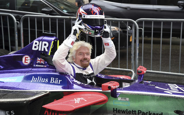 Richard Branson in a Formula E car in New York City on July 14, 2017. (AP)
