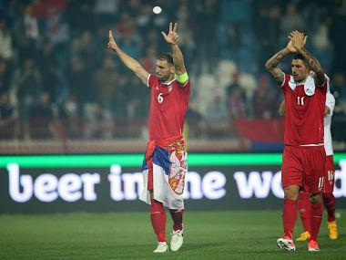 Soccer Football - 2018 World Cup Qualifications - Europe - Serbia vs Georgia - Rajko Mitic Stadium, Belgrade, Serbia - October 9, 2017 Serbia's Branislav Ivanovic and Aleksandar Kolarov celebrate World Cup qualification after the match REUTERS/Marko Djurica - RC1C2C1E9880