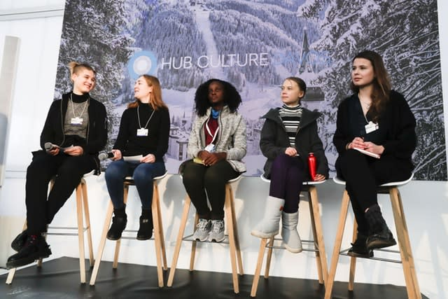 Climate activists Isabelle Axelsson, Loukina Tille, Vanessa Nakate, Greta Thunberg and Luisa Neubaue, from left, at a news conference in Davos, Switzerland
