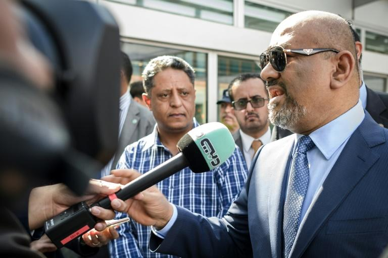 Yemen's foreign minister Khaled al-Yamani speaks to journalists on September 7, 2018 in Geneva ahead of the collapse of UN attempts to host warring parties in Yemen for talks on reviving floundering peace process