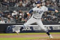Tampa Bay Rays pitcher Josh Fleming delivers against the New York Yankees in the seventh inning of a baseball game, Friday, Oct. 1, 2021, in New York. (AP Photo/Mary Altaffer)