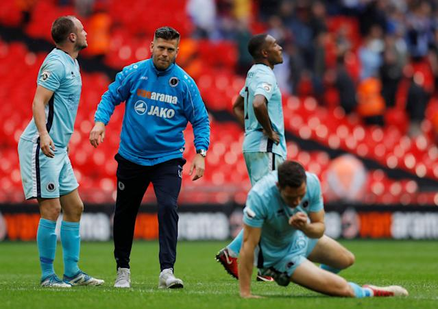Soccer Football - National League Promotion Final - Tranmere Rovers v Boreham Wood - Wembley Stadium, London, Britain - May 12, 2018 Boreham Wood manager Luke Garrard looks dejected after the match Action Images/Andrew Couldridge