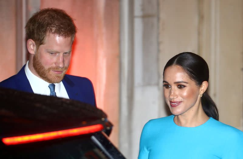 rlFILE PHOTO: FILE PHOTO: Britain's Prince Harry and his wife Meghan, Duchess of Sussex, leave after attending the Endeavour Fund Awards in London