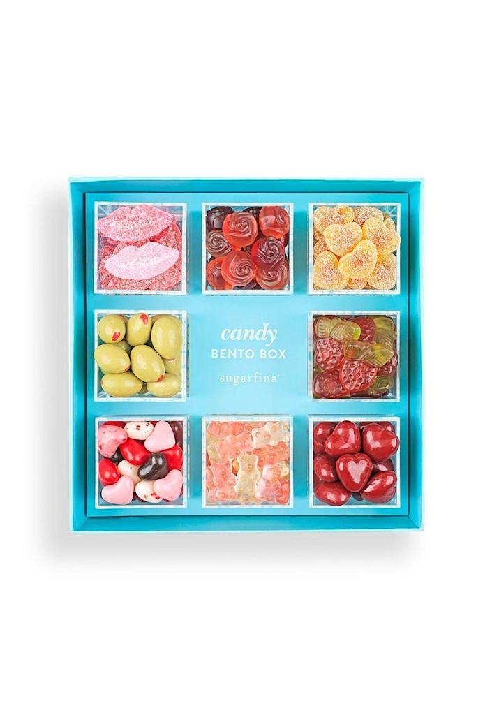 """<p>Customize this candy box from <a href=""""https://www.sugarfina.com/"""" rel=""""nofollow noopener"""" target=""""_blank"""" data-ylk=""""slk:Sugarfina"""" class=""""link rapid-noclick-resp"""">Sugarfina</a> with all of her favorite sweets.<br></p><p><a class=""""link rapid-noclick-resp"""" href=""""https://www.sugarfina.com/8-piece-bento"""" rel=""""nofollow noopener"""" target=""""_blank"""" data-ylk=""""slk:SHOP NOW"""">SHOP NOW</a></p>"""