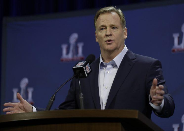Roger Goodell was asked a few questions about the Patriots and deflate-gate during his Super Bowl press conference. (AP)
