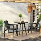 <p>The design of this <span>Wood Patio Bistro Set</span> ($400) will add so much character to your outdoor space.</p>