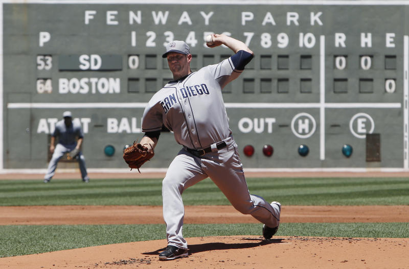 San Diego Padres starting pitcher Eric Stults delivers against the Boston Red Sox during the first inning of a baseball game at Fenway Park in Boston on Thursday, July 4, 2013. (AP Photo/Winslow Townson)