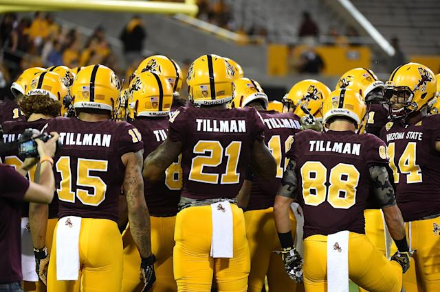 Arizona State University Sun Devils players all have Pat Tillman's name on their jerseys during a game against the Oregon Ducks in memory of the former Sun Devils player at Sun Devil Stadium on October 29, 2015 in Tempe, Arizona. (Photo by Norm Hall/Getty Images)