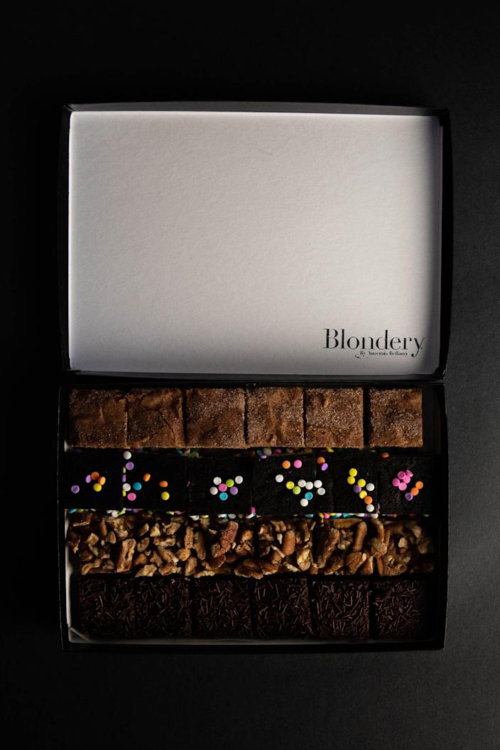 """<p><strong>Brownie Variety Box, 24-pieces</strong></p><p>blondery.com</p><p><strong>$65.00</strong></p><p><a href=""""https://blondery.com/collections/blondies-by-blondery/products/copy-of-variety-box-of-blondies-pop-up"""" rel=""""nofollow noopener"""" target=""""_blank"""" data-ylk=""""slk:BUY NOW"""" class=""""link rapid-noclick-resp"""">BUY NOW</a></p><p>If blondies are more your thing, <a href=""""https://blondery.com/"""" rel=""""nofollow noopener"""" target=""""_blank"""" data-ylk=""""slk:Blondery"""" class=""""link rapid-noclick-resp"""">Blondery</a> is the brand to follow. To give you a sense of how serious they are about blondies, they recently posted a photo of an <a href=""""https://www.instagram.com/p/CAL9uSqjGPQ/"""" rel=""""nofollow noopener"""" target=""""_blank"""" data-ylk=""""slk:11-layer blondie cake"""" class=""""link rapid-noclick-resp"""">11-layer blondie cake</a>—and proceeded to raffle it off to followers on Instagram. Red velvet, strawberry rosé, and pecan salted caramel are some of their most popular flavors. (P.s. The site is currently on pause, but you can start shopping again beginning June 21.)</p>"""