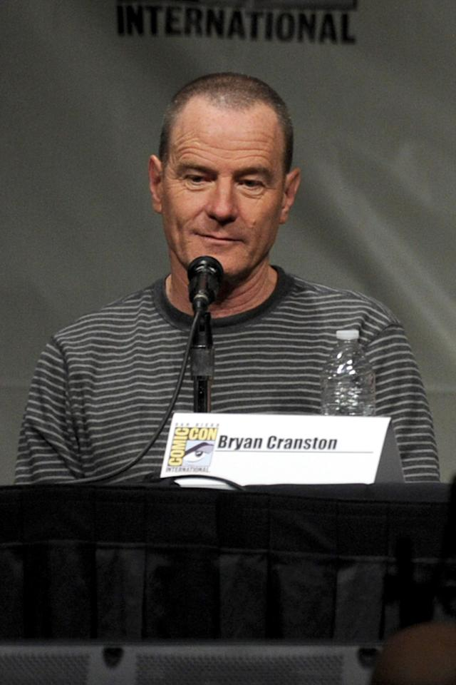 """SAN DIEGO, CA - JULY 13:  Actor Bryan Cranston speaks during Sony's """"Total Recall"""" panel during Comic-Con International 2012 at San Diego Convention Center on July 13, 2012 in San Diego, California.  (Photo by Kevin Winter/Getty Images)"""