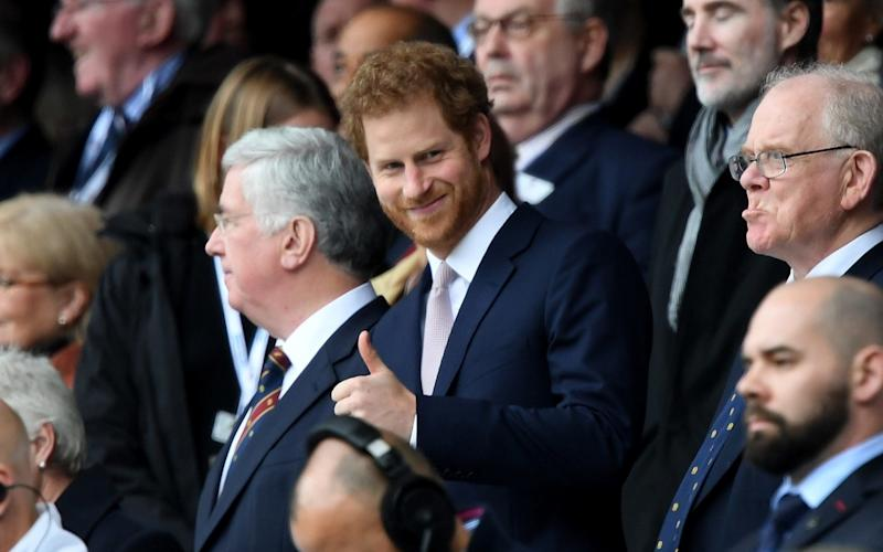 Prince Harry watched the action at Twickenham today - 2017 Getty Images