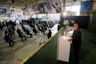 Brigadier General Esmail Ghaani Head of Iran's elite Quds force, gives a speech during a ceremony to mark the one year anniversary of the killing of senior Iranian military commander General Qassem Soleimani in a U.S. attack, in Tehran