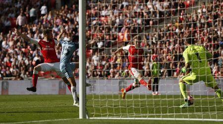 Britain Football Soccer - Arsenal v Manchester City - FA Cup Semi Final - Wembley Stadium - 23/4/17 Arsenal's Nacho Monreal scores their first goal Action Images via Reuters / John Sibley Livepic