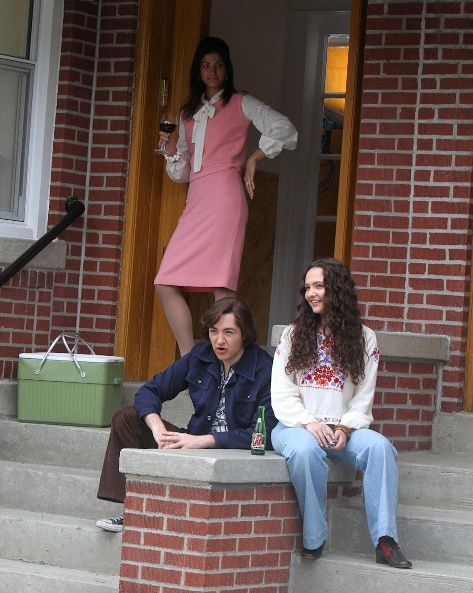 <p>Gabriella Piazza, Michael Gandolfini and Alexandra Intrator are seen on the set of <em>The Many Saints of Newark</em> on May 31, 2019 in New York City.</p>